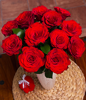 A dozen long stemmed Upper Class red Roses with glossy Ruscus leaves. The perfect gift to send with love.