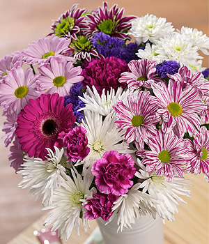 ../A colourful, long-lasting display of blooms featuring an eye-catching pink Germini and Tessino Carnations.