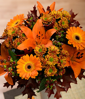 ../Two-tone Germini accompanied by orange Lilies, burgundy Hypericum Berries together with maroon foliage.