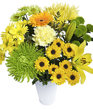 ../A vibrant citrus coloured bouquet with yellow Germini, Greenlizard Chrysanthemums and Anastasia.