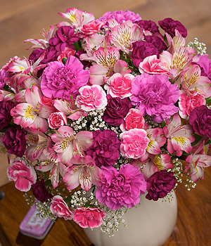 ../Pretty Cherry Tessino Spray Carnations with pink Alstroemeria, Carnations and white Gypsophila.