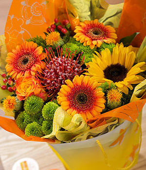 ../A beautiful, bright seasonal gift bag with Leucadendron surrounded by orange Germini and Sunflower.