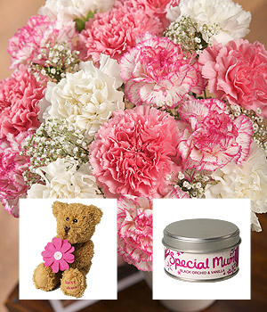 ../15 pink and white Carnations, a lovable 'Best Mum' teddy bear and a beautifully scented candle.